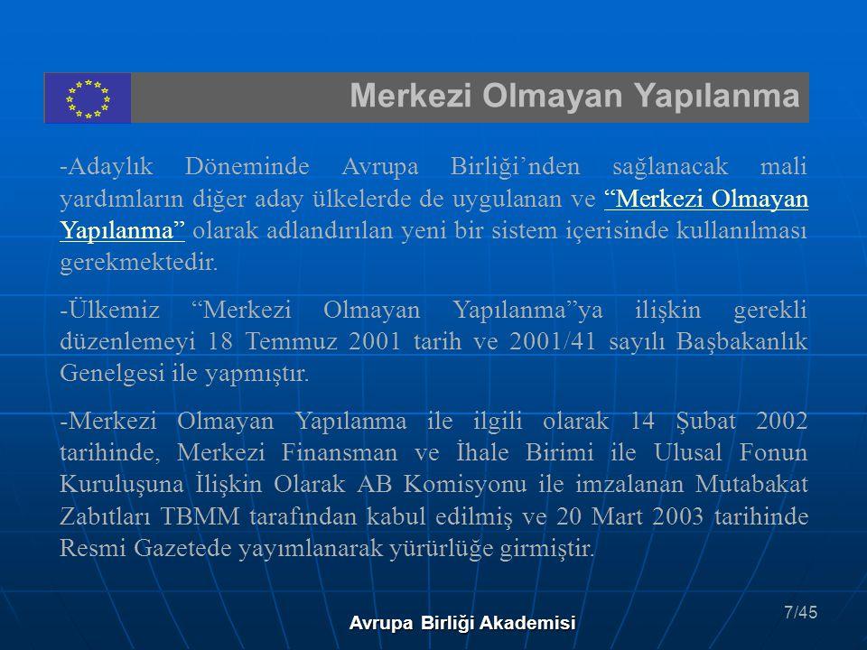 IPA IPA ( Instrument for Pre Accession Assistance): Katılım Öncesi Mali Yardım Enstrümanı Tahmini Bütçesi: 15 Milyar € Kapsadığı Ülkeler : Aday Ülkeler : Türkiye Hırvatistan Potansiyel Aday Ülkeler: Arnavutluk Bosna-Hersek Sırbistan-Karadağ Makedonya Avrupa Birliği Akademisi 36/45
