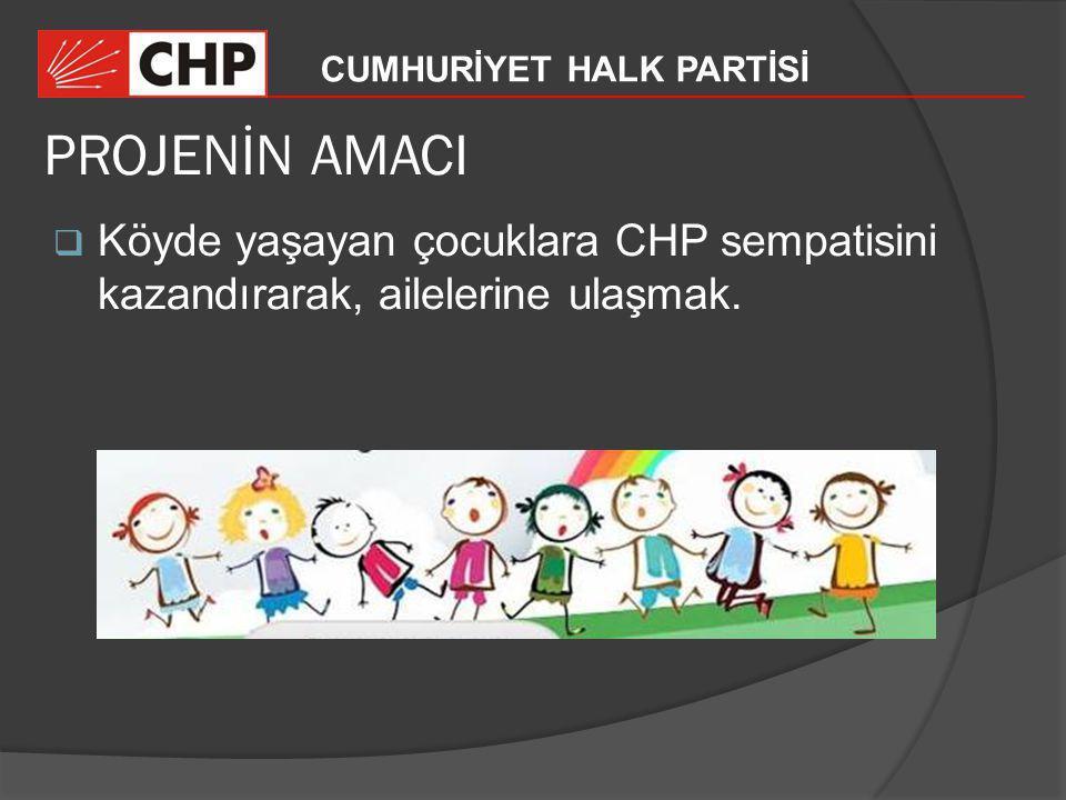 CUMHURİYET HALK PARTİSİ PROJENİN AMACI  Köyde yaşayan çocuklara CHP sempatisini kazandırarak, ailelerine ulaşmak.