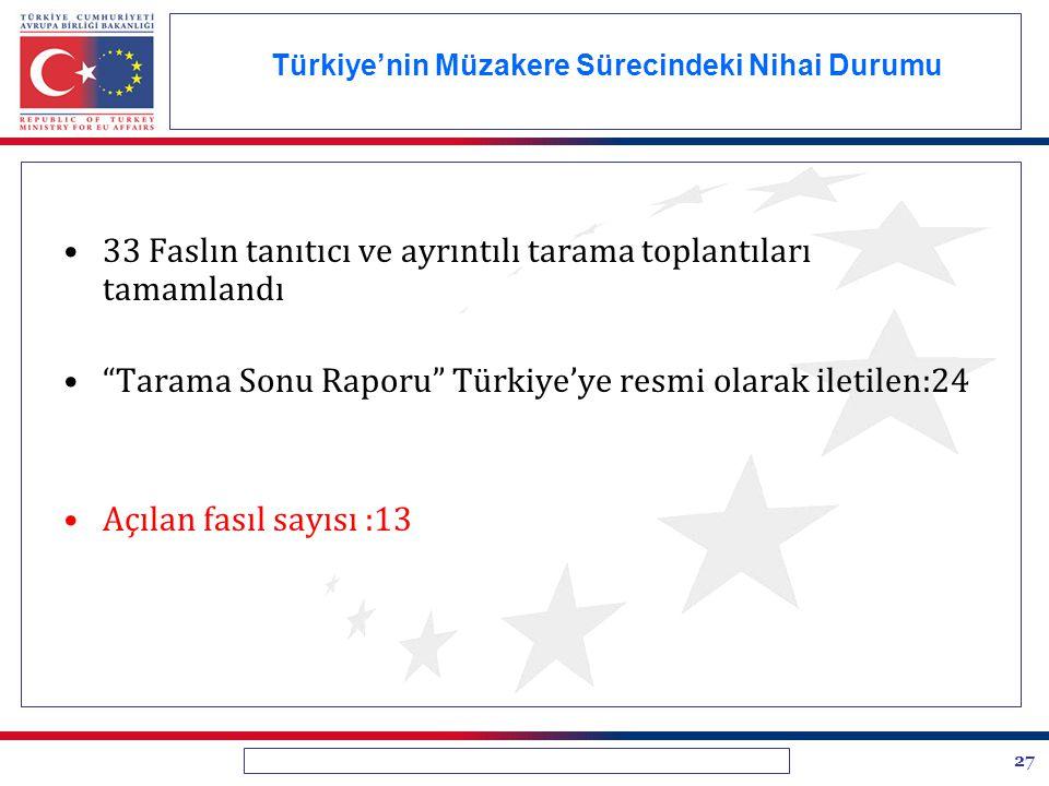 """27 Türkiye'nin Müzakere Sürecindeki Nihai Durumu 33 Faslın tanıtıcı ve ayrıntılı tarama toplantıları tamamlandı """"Tarama Sonu Raporu"""" Türkiye'ye resmi"""