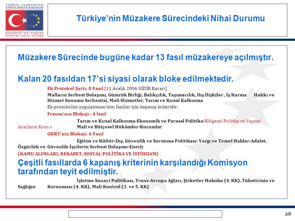28 Türkiye'nin Müzakere Sürecindeki Nihai Durumu Müzakere Sürecinde bugüne kadar 13 fasıl müzakereye açılmıştır. Kalan 20 fasıldan 17'si siyasi olarak