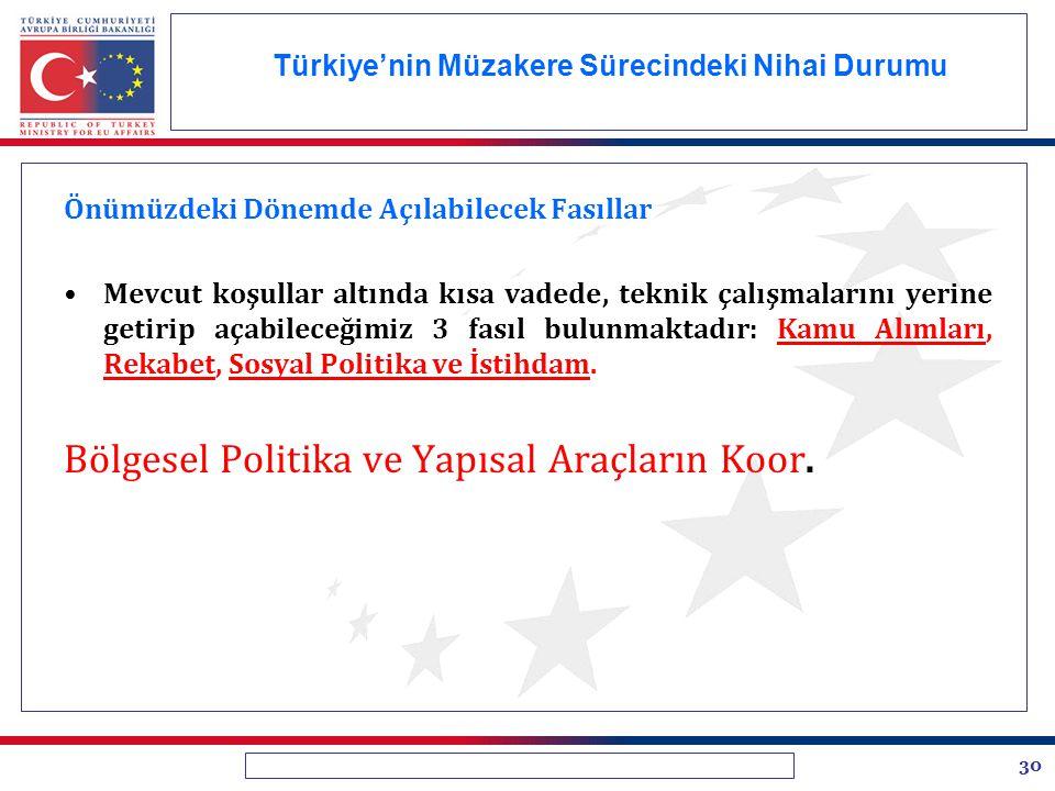 30 Türkiye'nin Müzakere Sürecindeki Nihai Durumu Önümüzdeki Dönemde Açılabilecek Fasıllar Mevcut koşullar altında kısa vadede, teknik çalışmalarını ye