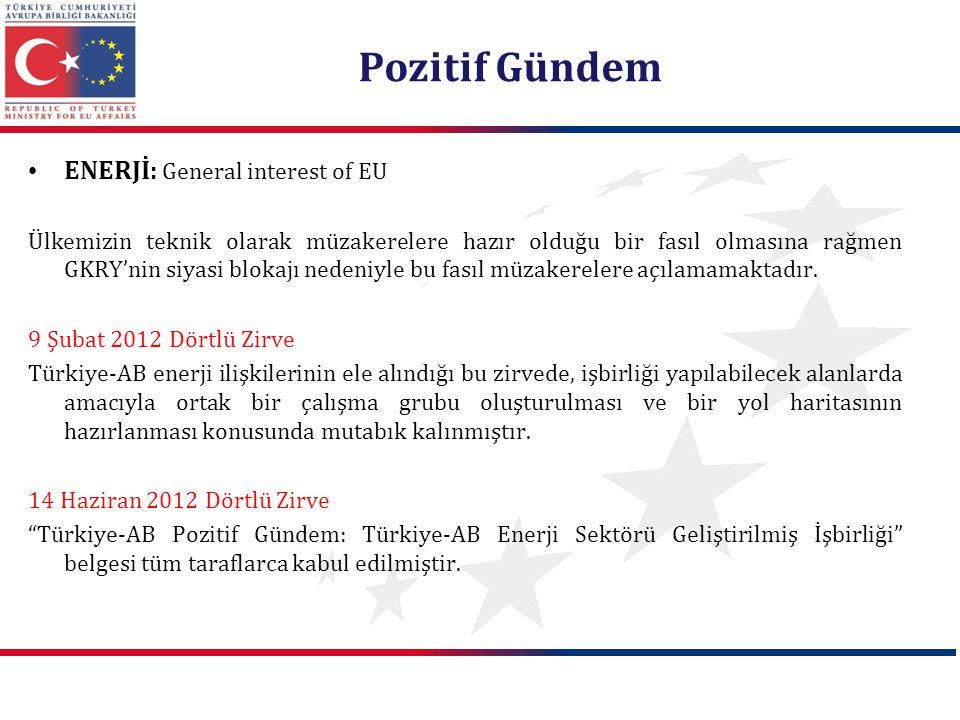 Pozitif Gündem ENERJİ: General interest of EU Ülkemizin teknik olarak müzakerelere hazır olduğu bir fasıl olmasına rağmen GKRY'nin siyasi blokajı nede