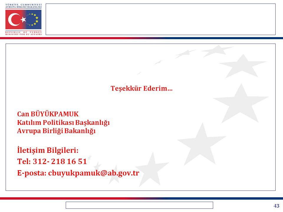 43 Teşekkür Ederim… Can BÜYÜKPAMUK Katılım Politikası Başkanlığı Avrupa Birliği Bakanlığı İletişim Bilgileri: Tel: 312- 218 16 51 E-posta: cbuyukpamuk