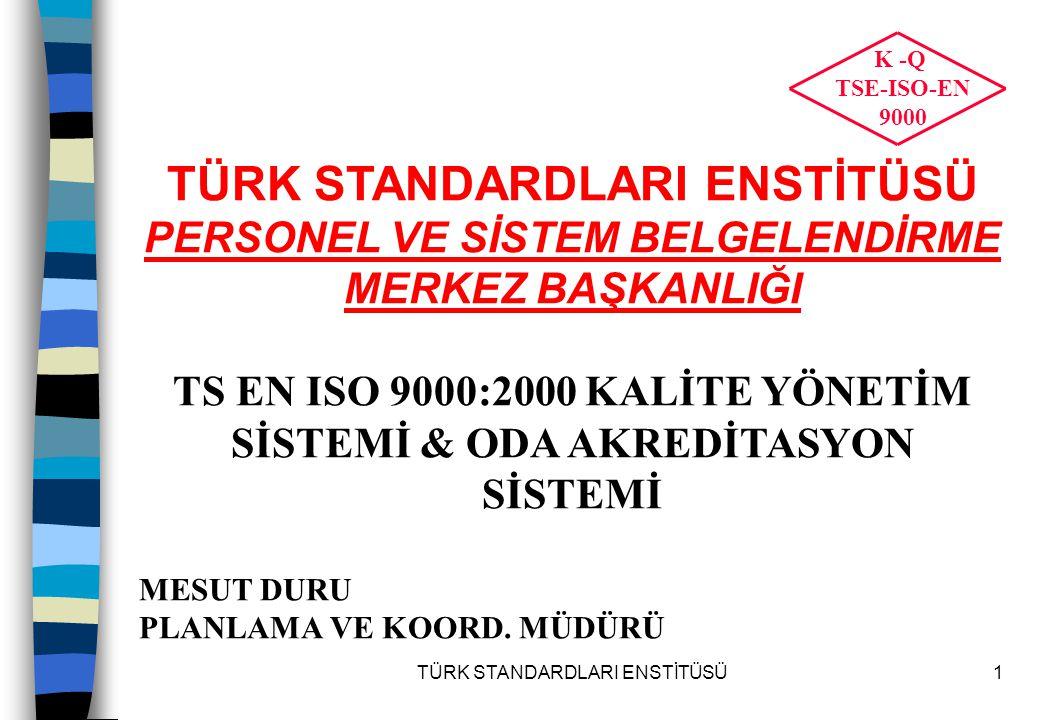 TÜRK STANDARDLARI ENSTİTÜSÜ52 STANDARLARIN YAPISI-1 ISO 9000:2000  Terimleri ve tanımlar  Kalite Yönetim Sistemlerinin temelleri ve elemanları  Proses yaklaşımının altını çizer ve jenerik modelin tanıtılması