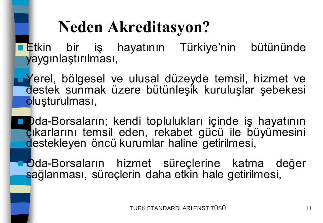 TÜRK STANDARDLARI ENSTİTÜSÜ11 Neden Akreditasyon? Etkin bir iş hayatının Türkiye'nin bütününde yaygınlaştırılması, Yerel, bölgesel ve ulusal düzeyde t