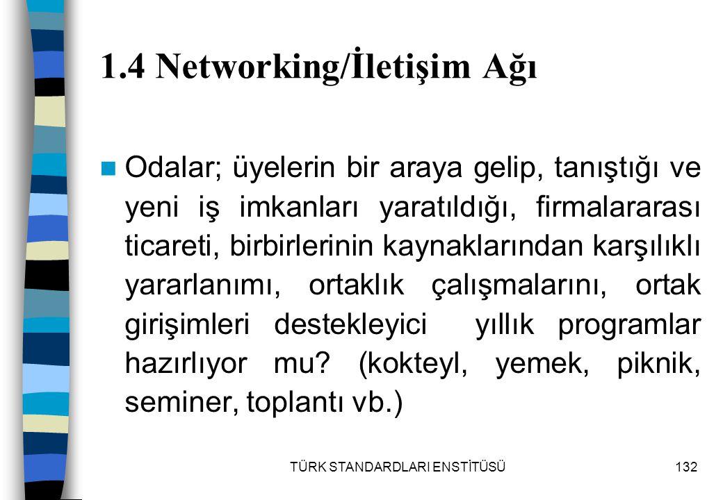 TÜRK STANDARDLARI ENSTİTÜSÜ132 1.4 Networking/İletişim Ağı Odalar; üyelerin bir araya gelip, tanıştığı ve yeni iş imkanları yaratıldığı, firmalararası