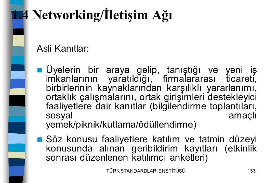 TÜRK STANDARDLARI ENSTİTÜSÜ133 1.4 Networking/İletişim Ağı Asli Kanıtlar: Üyelerin bir araya gelip, tanıştığı ve yeni iş imkanlarının yaratıldığı, fir