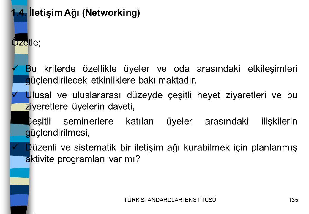 TÜRK STANDARDLARI ENSTİTÜSÜ135 1.4. İletişim Ağı (Networking) Özetle; Bu kriterde özellikle üyeler ve oda arasındaki etkileşimleri güçlendirilecek etk