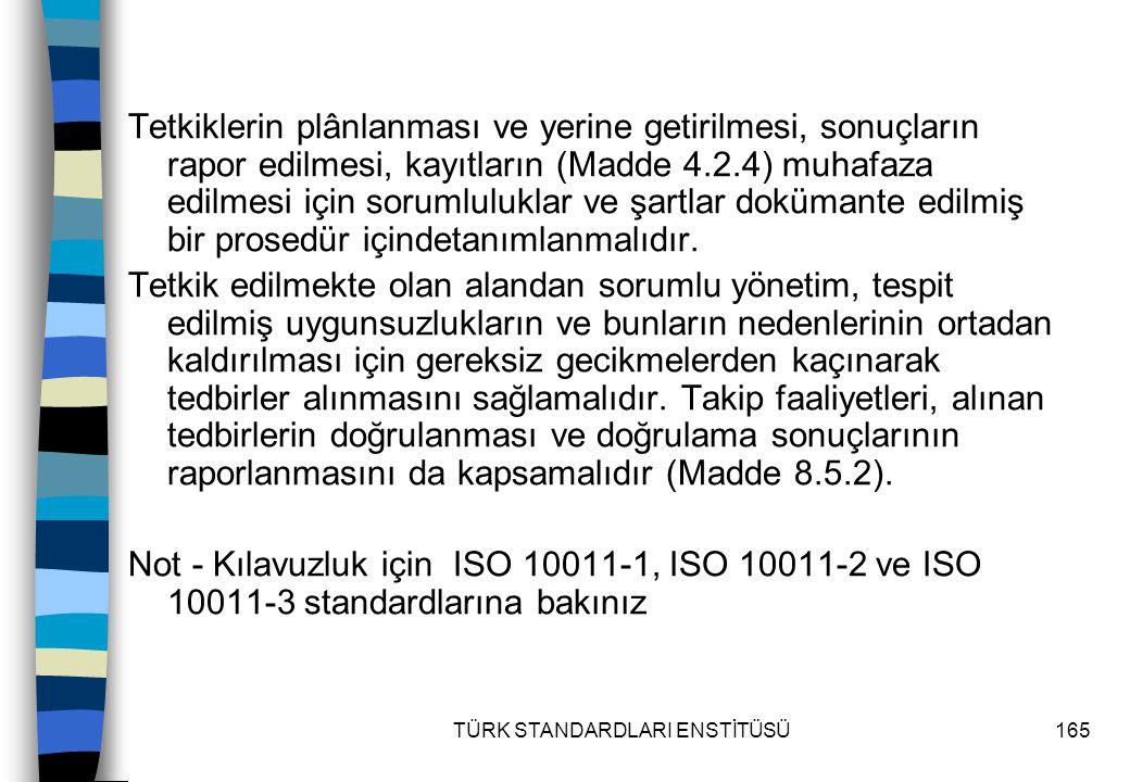 TÜRK STANDARDLARI ENSTİTÜSÜ165 Tetkiklerin plânlanması ve yerine getirilmesi, sonuçların rapor edilmesi, kayıtların (Madde 4.2.4) muhafaza edilmesi iç