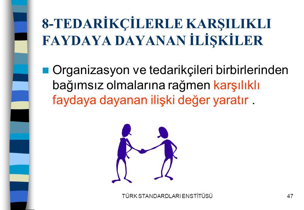 TÜRK STANDARDLARI ENSTİTÜSÜ47 8-TEDARİKÇİLERLE KARŞILIKLI FAYDAYA DAYANAN İLİŞKİLER Organizasyon ve tedarikçileri birbirlerinden bağımsız olmalarına r