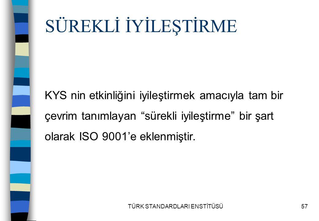 """TÜRK STANDARDLARI ENSTİTÜSÜ57 KYS nin etkinliğini iyileştirmek amacıyla tam bir çevrim tanımlayan """"sürekli iyileştirme"""" bir şart olarak ISO 9001'e ekl"""