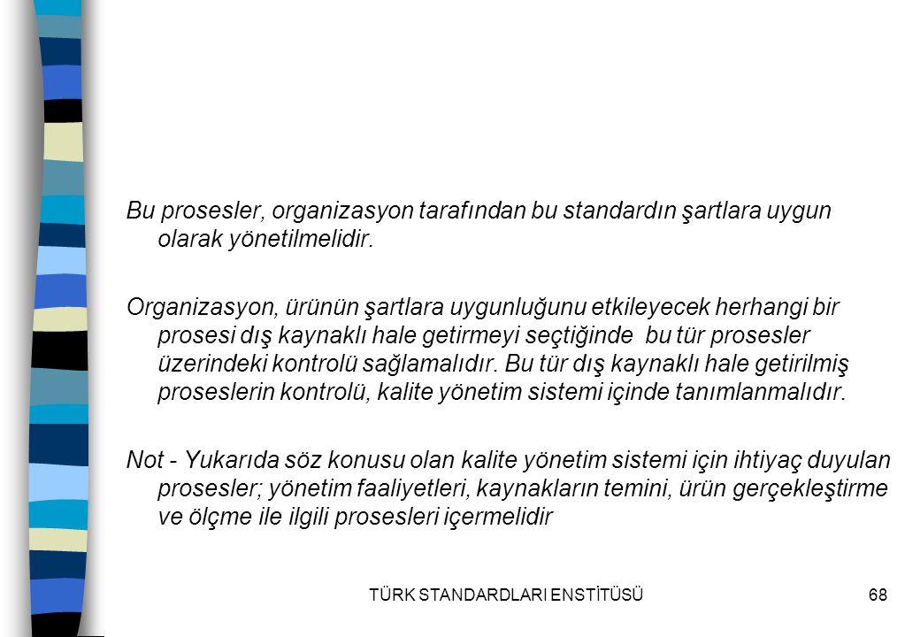 TÜRK STANDARDLARI ENSTİTÜSÜ68 Bu prosesler, organizasyon tarafından bu standardın şartlara uygun olarak yönetilmelidir. Organizasyon, ürünün şartlara