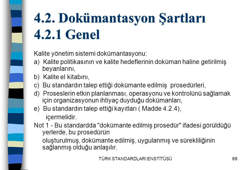 TÜRK STANDARDLARI ENSTİTÜSÜ69 4.2. Dokümantasyon Şartları 4.2.1 Genel Kalite yönetim sistemi dokümantasyonu: a) Kalite politikasının ve kalite hedefle