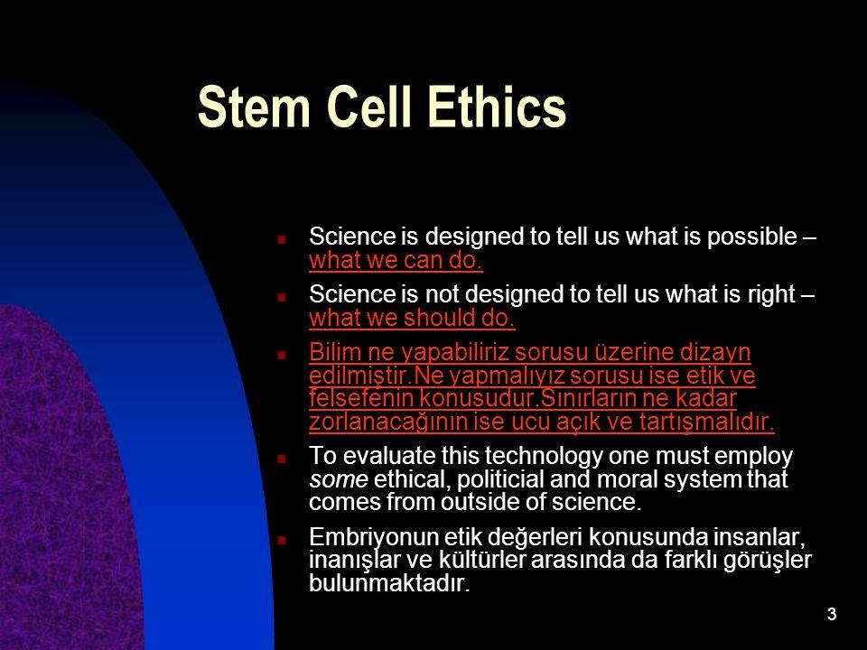 74 Sonuçlar: Etik, ahlaki birçok tartışmayı beraberinde taşımakla birlikte, kök hücre araştırmalarının geleceğin en önemli konularından biri olacağını söylemek kahinlik sayılmaz.