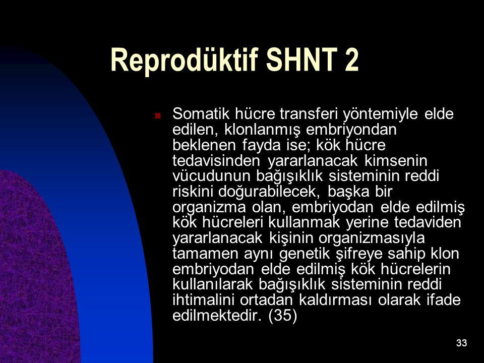 33 Reprodüktif SHNT 2 Somatik hücre transferi yöntemiyle elde edilen, klonlanmış embriyondan beklenen fayda ise; kök hücre tedavisinden yararlanacak k