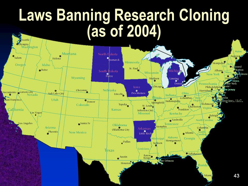 43 Laws Banning Research Cloning (as of 2004)