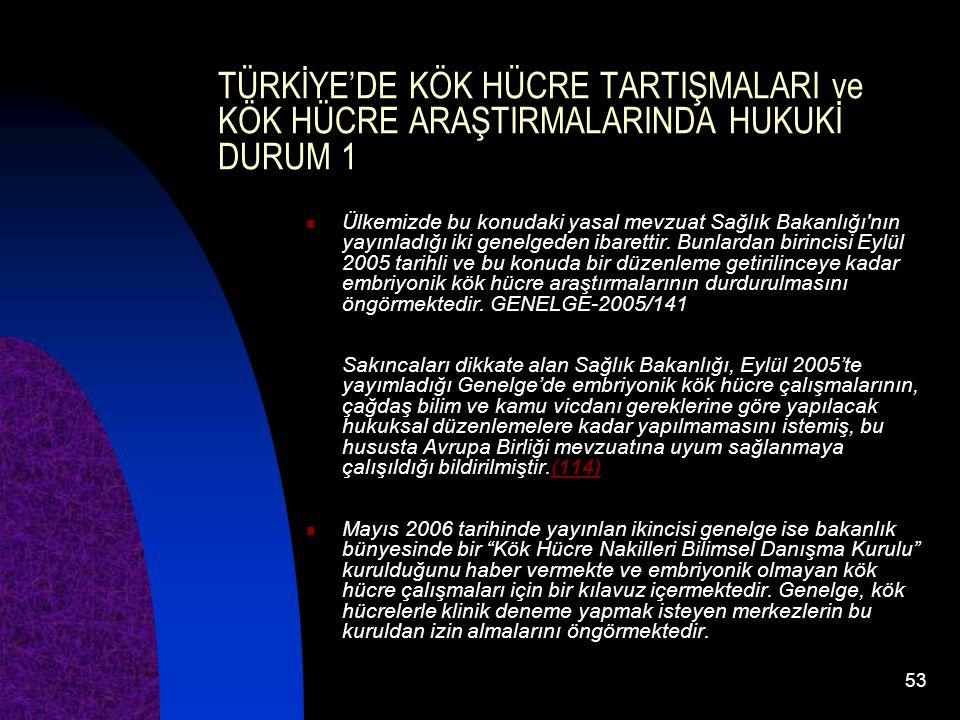 53 TÜRKİYE'DE KÖK HÜCRE TARTIŞMALARI ve KÖK HÜCRE ARAŞTIRMALARINDA HUKUKİ DURUM 1 Ülkemizde bu konudaki yasal mevzuat Sağlık Bakanlığı'nın yayınladığı