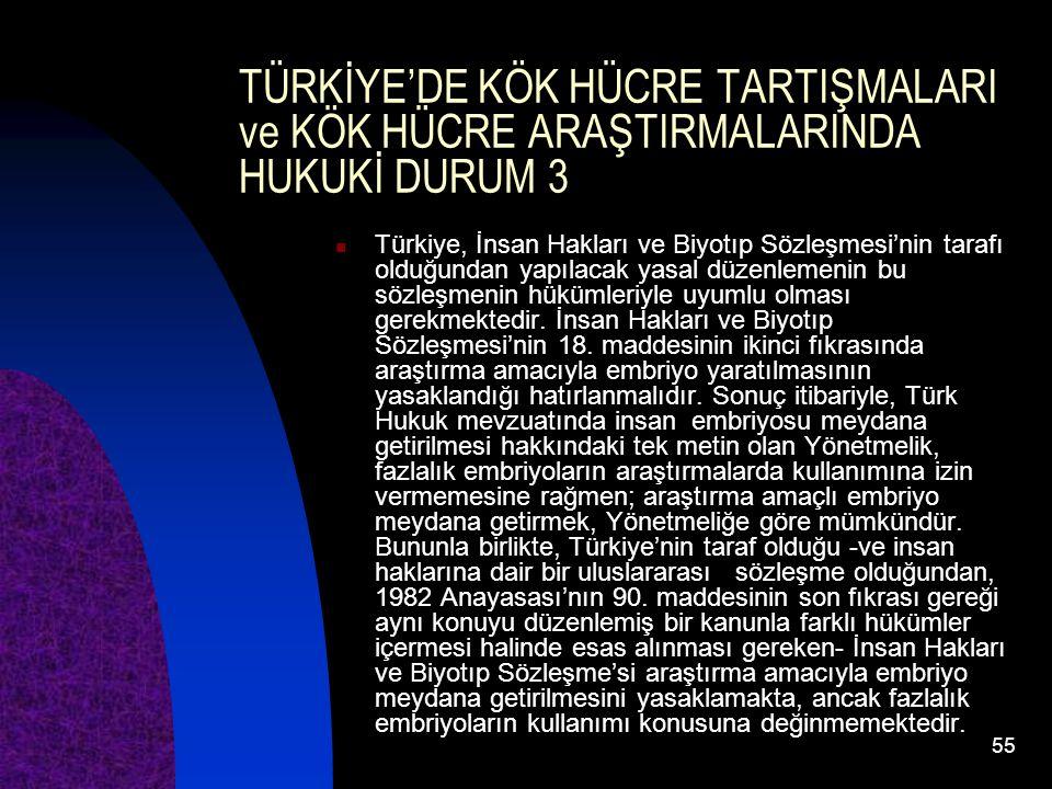55 TÜRKİYE'DE KÖK HÜCRE TARTIŞMALARI ve KÖK HÜCRE ARAŞTIRMALARINDA HUKUKİ DURUM 3 Türkiye, İnsan Hakları ve Biyotıp Sözleşmesi'nin tarafı olduğundan y