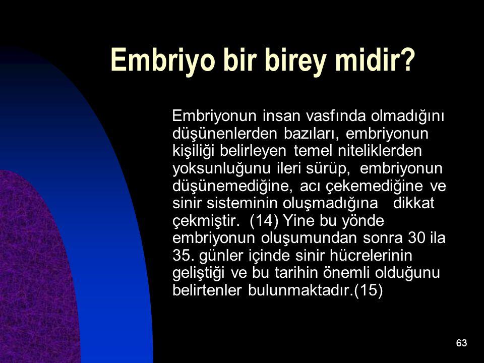 63 Embriyo bir birey midir? Embriyonun insan vasfında olmadığını düşünenlerden bazıları, embriyonun kişiliği belirleyen temel niteliklerden yoksunluğu