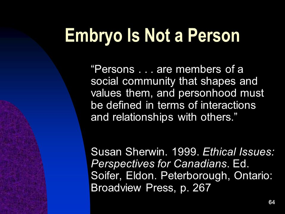 64 Embryo Is Not a Person Persons...