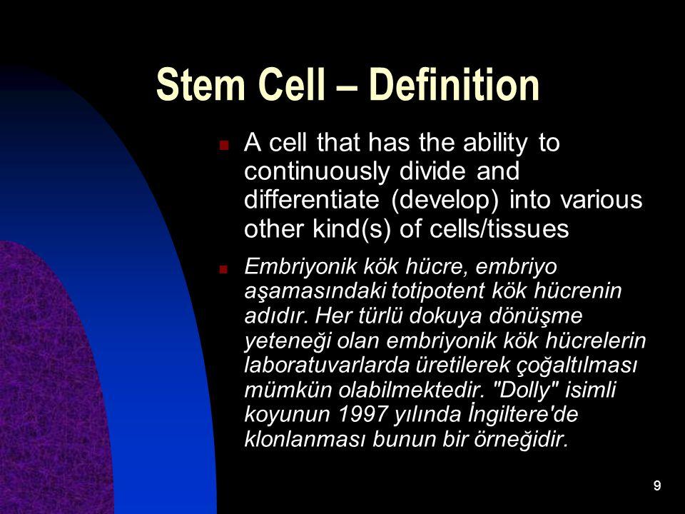10 Giriş: Kök hücre bilimi nerede, cazibesi ne??.