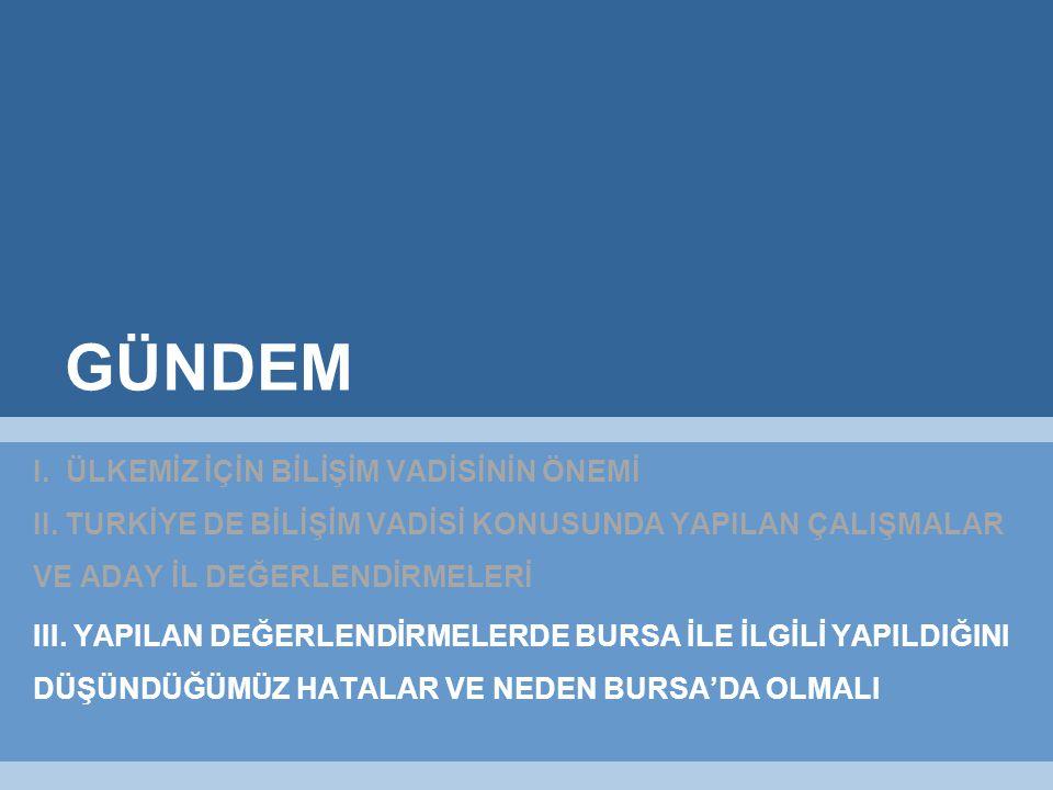 GÜNDEM I. ÜLKEMİZ İÇİN BİLİŞİM VADİSİNİN ÖNEMİ II.