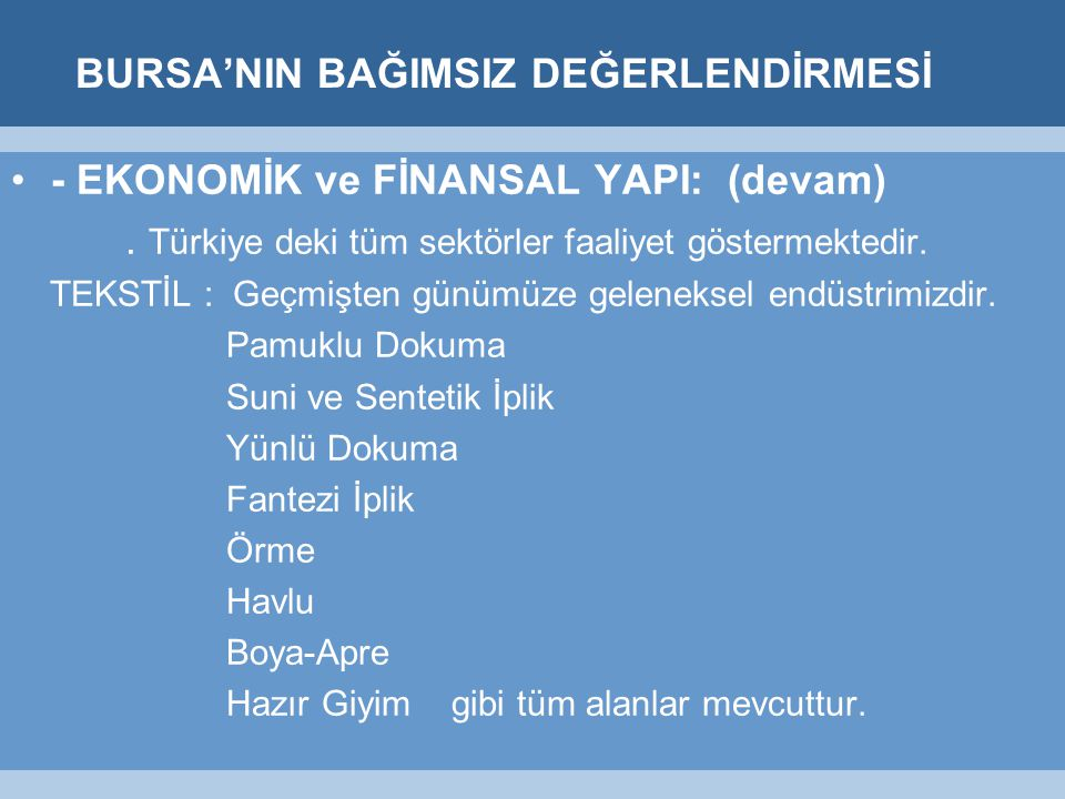 BURSA'NIN BAĞIMSIZ DEĞERLENDİRMESİ - EKONOMİK ve FİNANSAL YAPI: (devam).