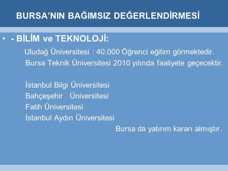 BURSA'NIN BAĞIMSIZ DEĞERLENDİRMESİ - BİLİM ve TEKNOLOJİ: Uludağ Üniversitesi : 40.000 Öğrenci eğitim görmektedir.