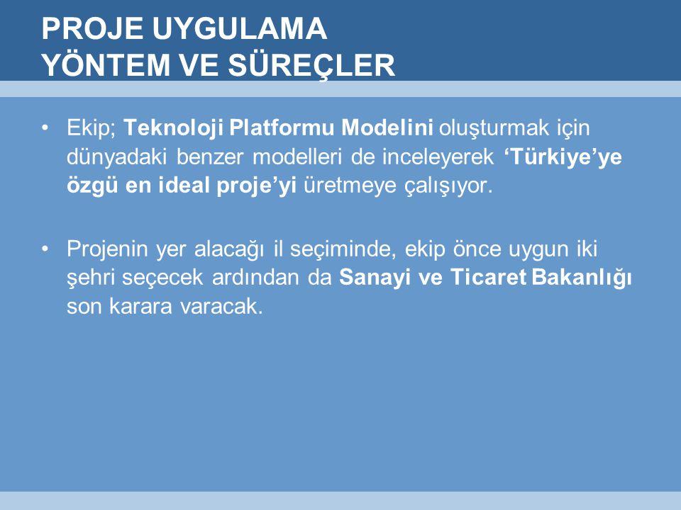 PROJE UYGULAMA YÖNTEM VE SÜREÇLER Ekip; Teknoloji Platformu Modelini oluşturmak için dünyadaki benzer modelleri de inceleyerek 'Türkiye'ye özgü en ideal proje'yi üretmeye çalışıyor.