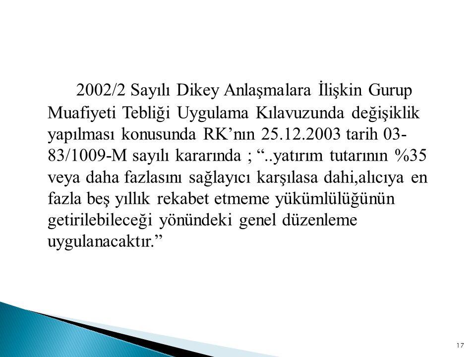 2002/2 Sayılı Dikey Anlaşmalara İlişkin Gurup Muafiyeti Tebliği Uygulama Kılavuzunda değişiklik yapılması konusunda RK'nın 25.12.2003 tarih 03- 83/100