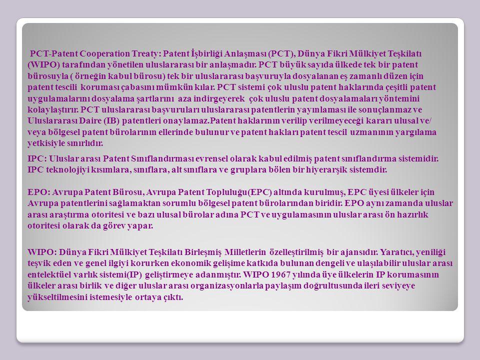 PCT-Patent Cooperation Treaty: Patent İşbirliği Anlaşması (PCT), Dünya Fikri Mülkiyet Teşkilatı (WIPO) tarafından yönetilen uluslararası bir anlaşmadı