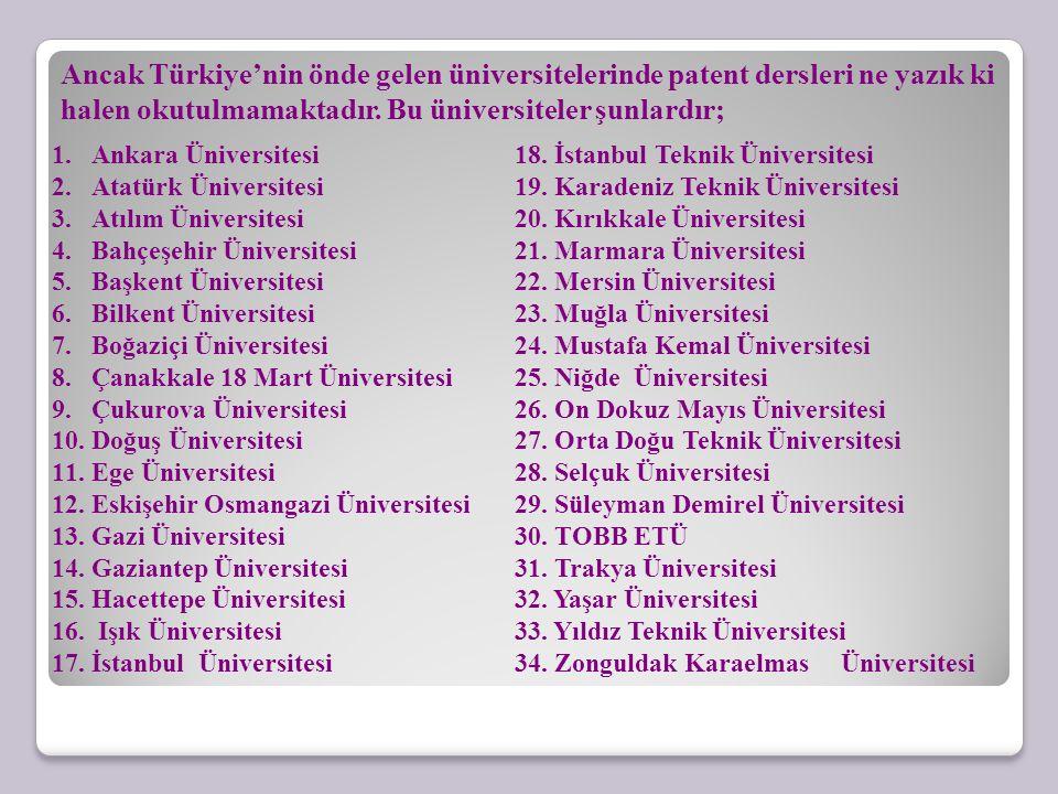 Ancak Türkiye'nin önde gelen üniversitelerinde patent dersleri ne yazık ki halen okutulmamaktadır. Bu üniversiteler şunlardır; 1.Ankara Üniversitesi 2