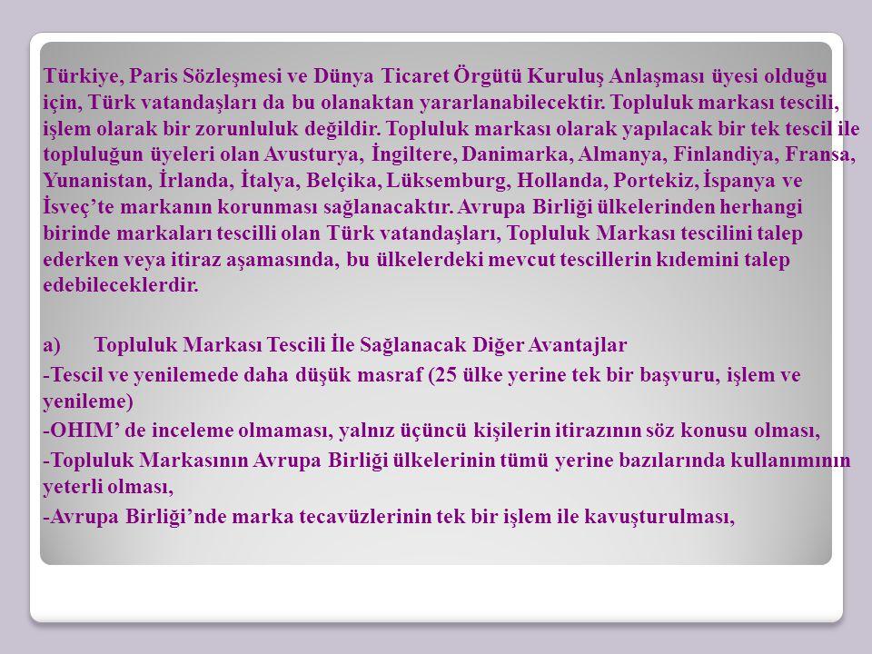 Türkiye, Paris Sözleşmesi ve Dünya Ticaret Örgütü Kuruluş Anlaşması üyesi olduğu için, Türk vatandaşları da bu olanaktan yararlanabilecektir. Topluluk