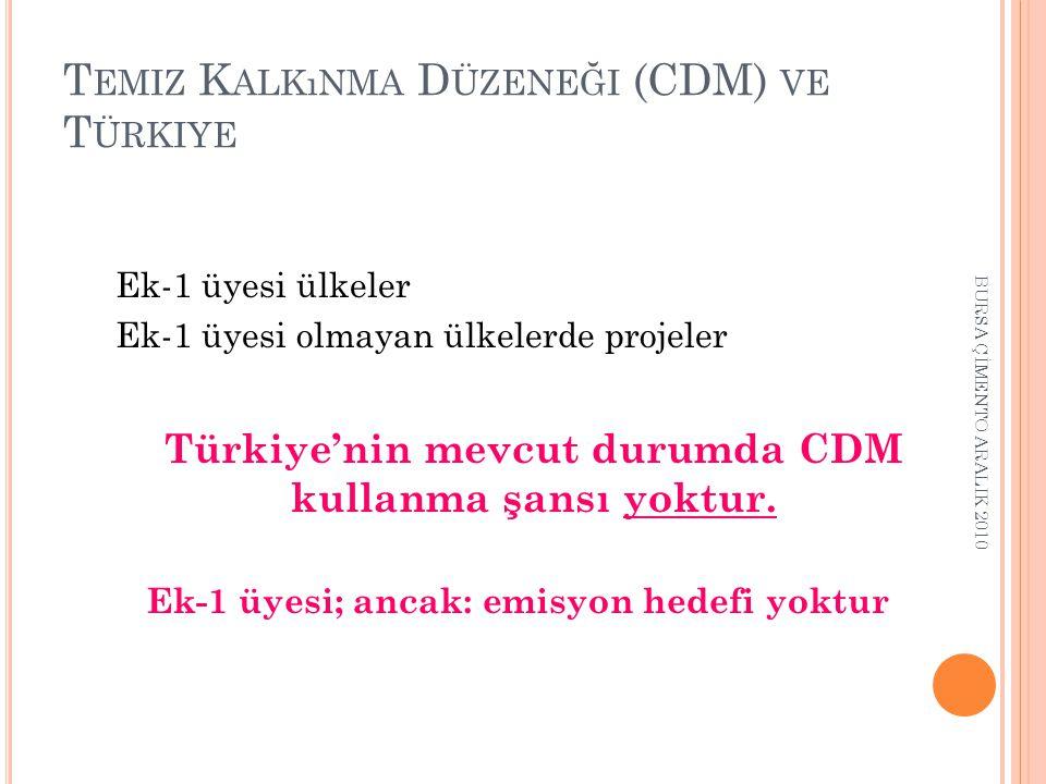 T EMIZ K ALKıNMA D ÜZENEĞI (CDM) VE T ÜRKIYE Ek-1 üyesi ülkeler Ek-1 üyesi olmayan ülkelerde projeler Türkiye'nin mevcut durumda CDM kullanma şansı yoktur.