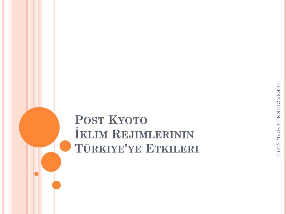 P OST K YOTO İ KLIM R EJIMLERININ T ÜRKIYE ' YE E TKILERI BURSA ÇİMENTO ARALIK 2010