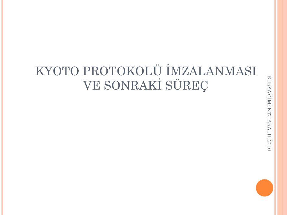 BİRLEŞMİŞ MİLLETLER ANLAŞMALAR Birleşmiş Milletler İklim Değişikliği Çerçeve Sözleşmesi (BMİDÇS) Kyoto Protokolu İmza Kyoto Protokolu Yürürlük 2012- Post-Kyoto 200919941997 2004 2005 Türkiye BMİDÇS imzası Özel şartlar Ek-I * Türkiye EK B: -5% Ek-II * OECD Ek- B Türkiye Kyotoya Taraf Oldu.