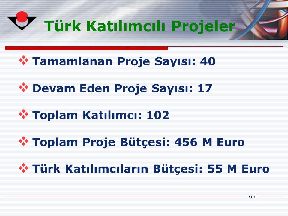 65 Türk Katılımcılı Projeler  Tamamlanan Proje Sayısı: 40  Devam Eden Proje Sayısı: 17  Toplam Katılımcı: 102  Toplam Proje Bütçesi: 456 M Euro 