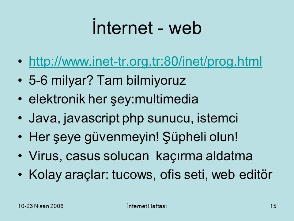 10-23 Nisan 2006İnternet Haftası15 İnternet - web http://www.inet-tr.org.tr:80/inet/prog.html 5-6 milyar? Tam bilmiyoruz elektronik her şey:multimedia