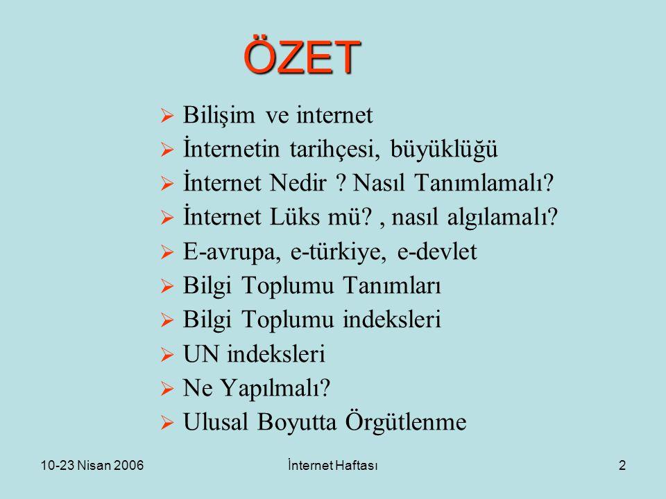 10-23 Nisan 2006İnternet Haftası2 ÖZET  Bilişim ve internet  İnternetin tarihçesi, büyüklüğü  İnternet Nedir ? Nasıl Tanımlamalı?  İnternet Lüks m