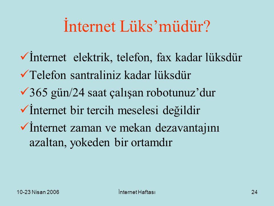 10-23 Nisan 2006İnternet Haftası24 İnternet Lüks'müdür? İnternet elektrik, telefon, fax kadar lüksdür Telefon santraliniz kadar lüksdür 365 gün/24 saa