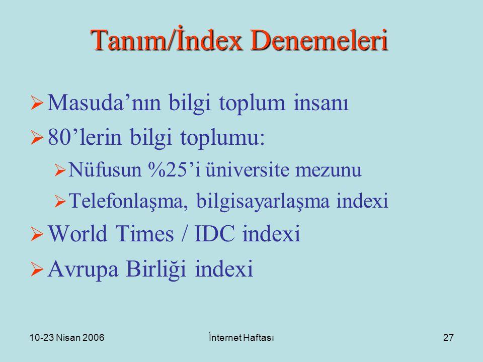 10-23 Nisan 2006İnternet Haftası27 Tanım/İndex Denemeleri  Masuda'nın bilgi toplum insanı  80'lerin bilgi toplumu:  Nüfusun %25'i üniversite mezunu  Telefonlaşma, bilgisayarlaşma indexi  World Times / IDC indexi  Avrupa Birliği indexi