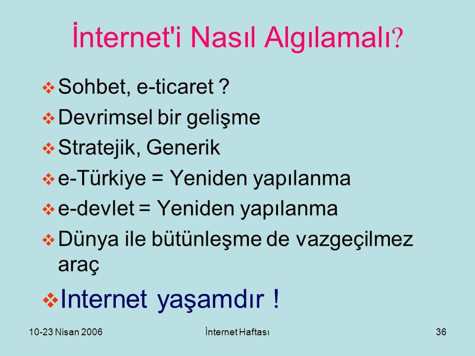 10-23 Nisan 2006İnternet Haftası36 İnternet'i Nasıl Algılamalı ?  Sohbet, e-ticaret ?  Devrimsel bir gelişme  Stratejik, Generik  e-Türkiye = Yeni