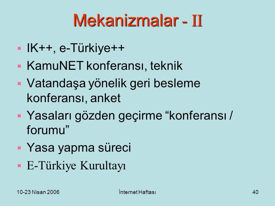10-23 Nisan 2006İnternet Haftası40 Mekanizmalar - II  IK++, e-Türkiye++  KamuNET konferansı, teknik  Vatandaşa yönelik geri besleme konferansı, anket  Yasaları gözden geçirme konferansı / forumu  Yasa yapma süreci  E-Türkiye Kurultayı