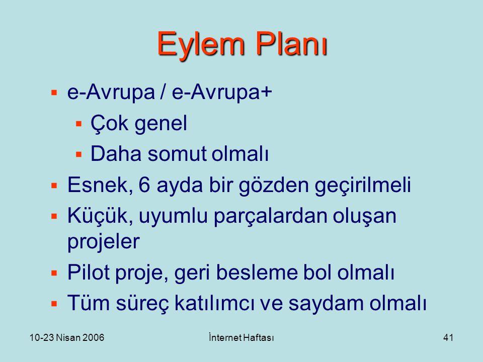10-23 Nisan 2006İnternet Haftası41 Eylem Planı  e-Avrupa / e-Avrupa+  Çok genel  Daha somut olmalı  Esnek, 6 ayda bir gözden geçirilmeli  Küçük,