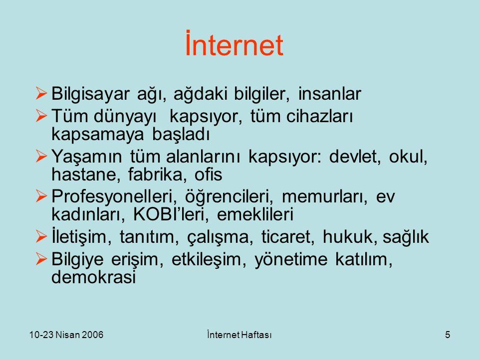 10-23 Nisan 2006İnternet Haftası5 İnternet  Bilgisayar ağı, ağdaki bilgiler, insanlar  Tüm dünyayı kapsıyor, tüm cihazları kapsamaya başladı  Yaşam