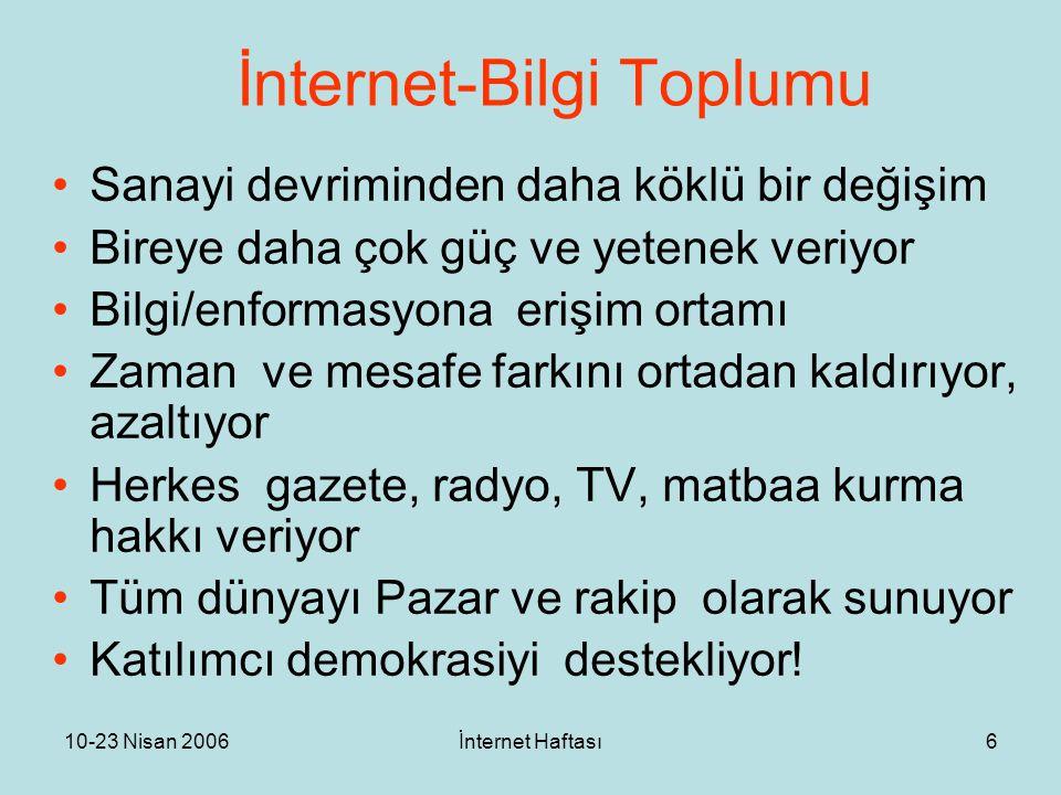 10-23 Nisan 2006İnternet Haftası6 İnternet-Bilgi Toplumu Sanayi devriminden daha köklü bir değişim Bireye daha çok güç ve yetenek veriyor Bilgi/enform