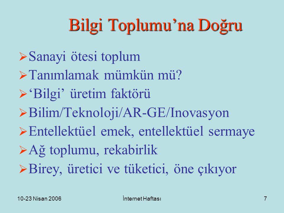 10-23 Nisan 2006İnternet Haftası7 Bilgi Toplumu'na Doğru  Sanayi ötesi toplum  Tanımlamak mümkün mü?  'Bilgi' üretim faktörü  Bilim/Teknoloji/AR-G