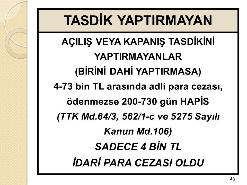 4343 TASDİK YAPTIRMAYAN AÇILIŞ VEYA KAPANIŞ TASDİKİNİ YAPTIRMAYANLAR (BİRİNİ DAHİ YAPTIRMASA) 4-73 bin TL arasında adli para cezası, ödenmezse 200-730