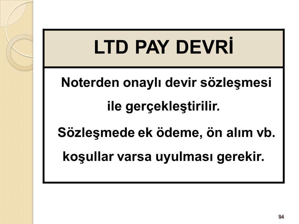 9494 LTD PAY DEVRİ Noterden onaylı devir sözleşmesi ile gerçekleştirilir. Sözleşmede ek ödeme, ön alım vb. koşullar varsa uyulması gerekir.