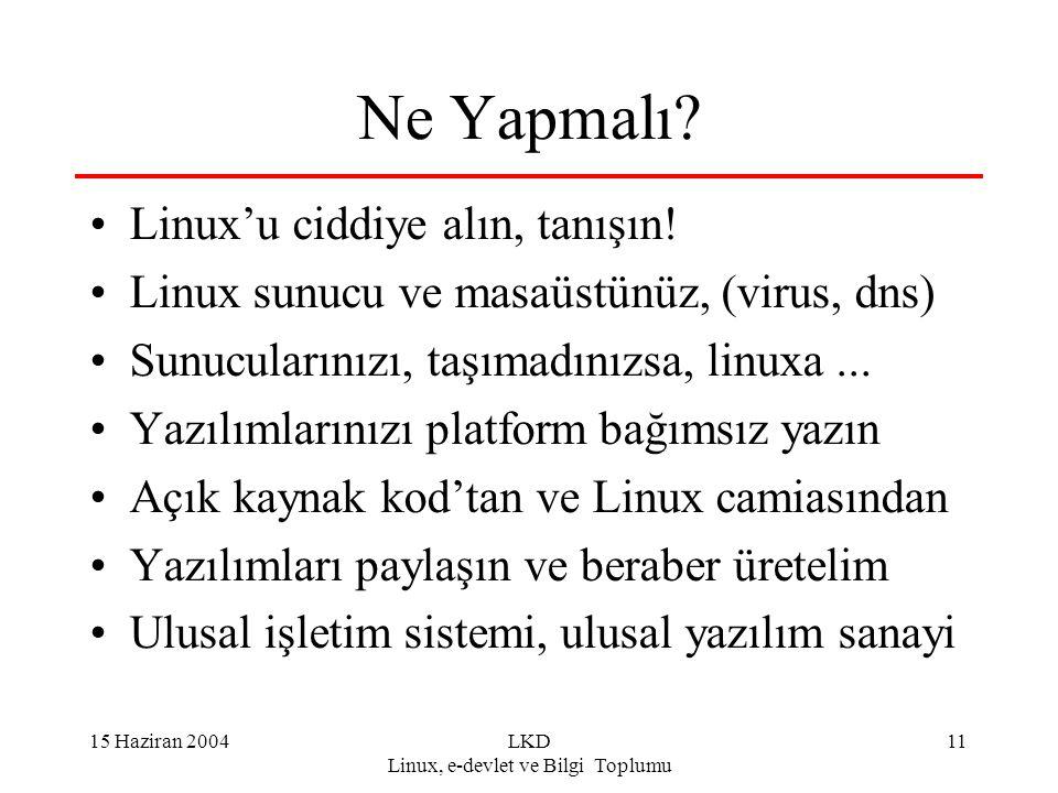 15 Haziran 2004LKD Linux, e-devlet ve Bilgi Toplumu 11 Ne Yapmalı? Linux'u ciddiye alın, tanışın! Linux sunucu ve masaüstünüz, (virus, dns) Sunucuları